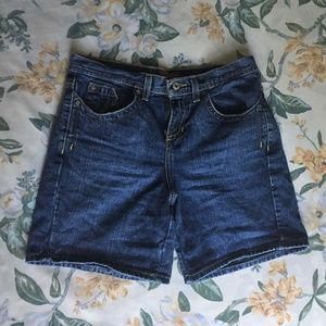 Dark Wash High Waisted Long Jean Shorts